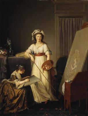 Atelier d'un Peintre et de son élève (probablement Vigée-Lebrun), Marie-Victoire Lemoine