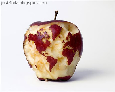 funny food art apple world map