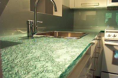 Glass Countertop Modern Kitchen
