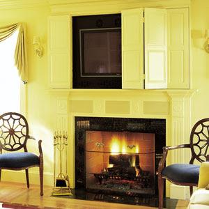 houseography peek a boo hiding a flat panel tv. Black Bedroom Furniture Sets. Home Design Ideas