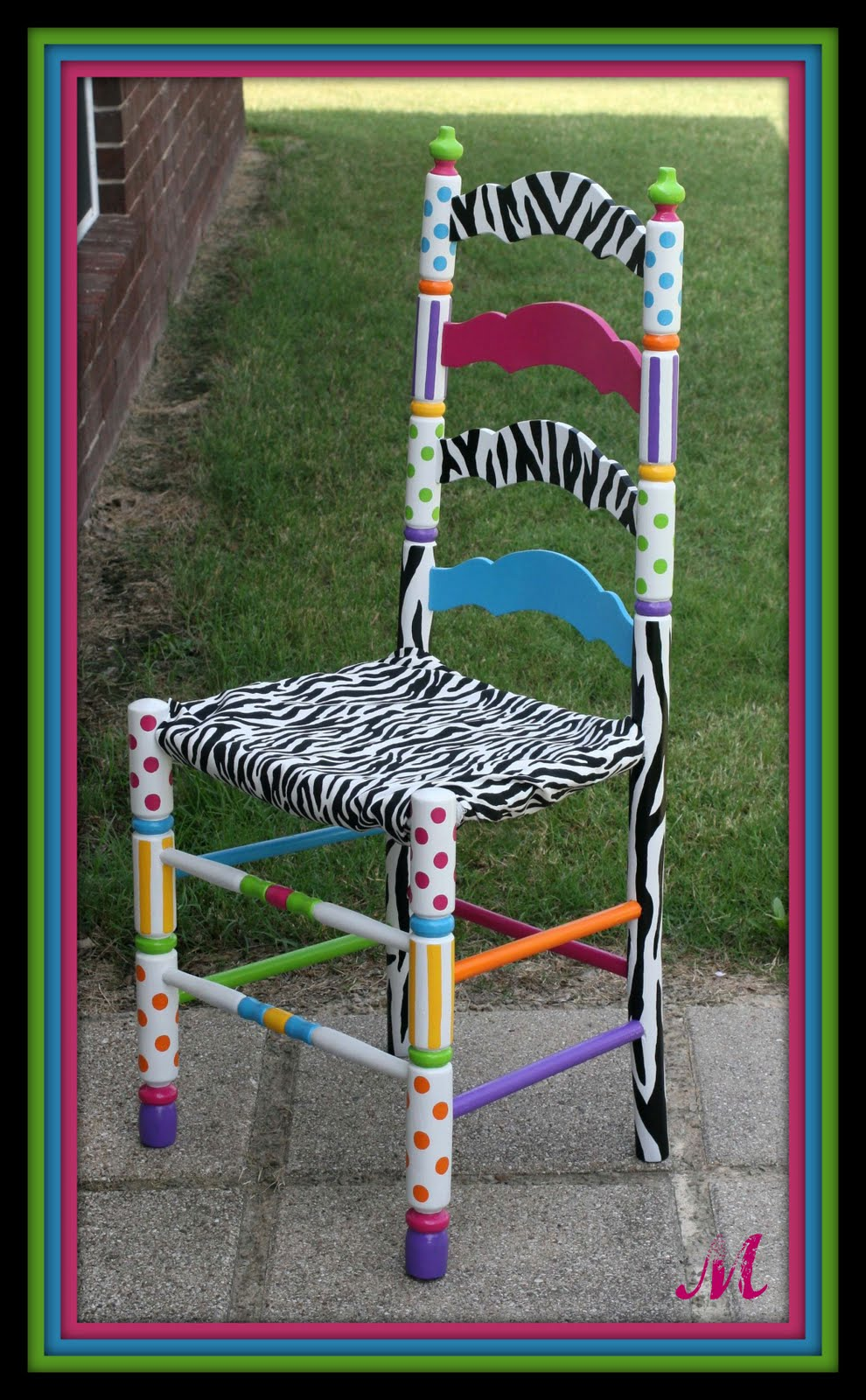 Turquoise trinkets custom hand painted chair - Hand painted furniture ideas ...