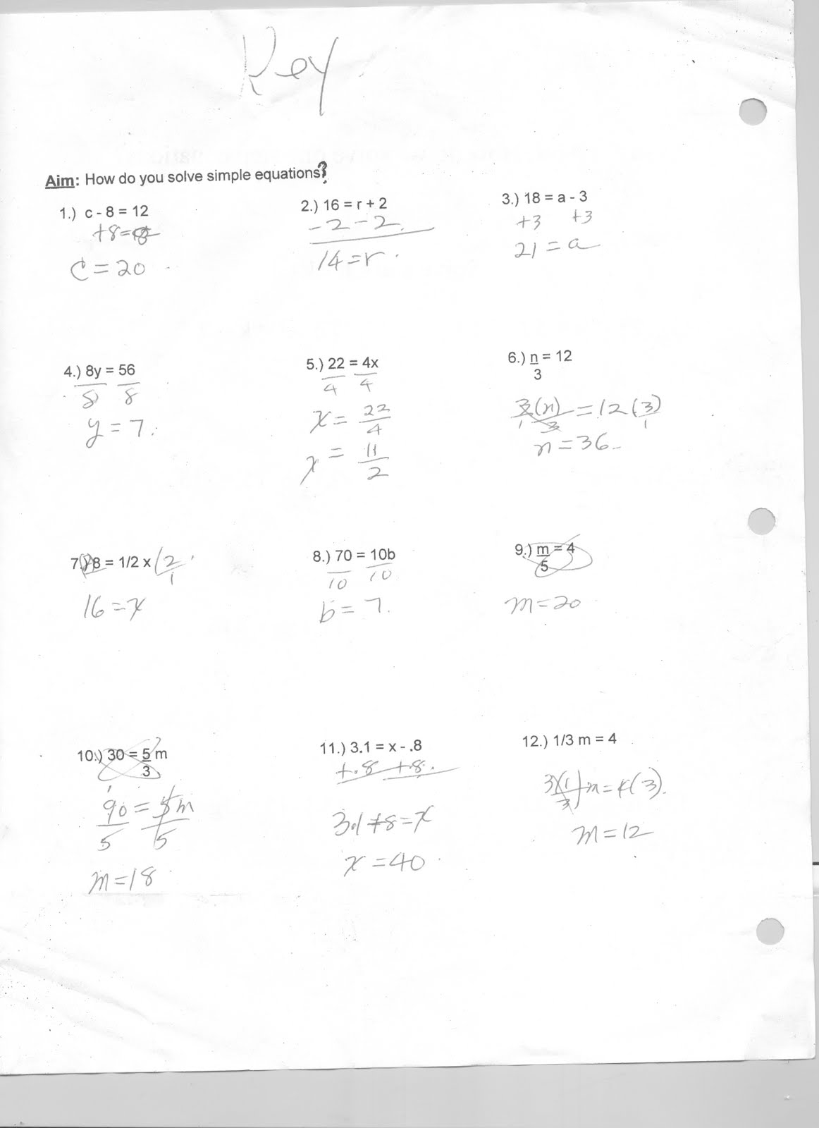 Mr Napoli S Algebra Aim How Do You Solve A One Step