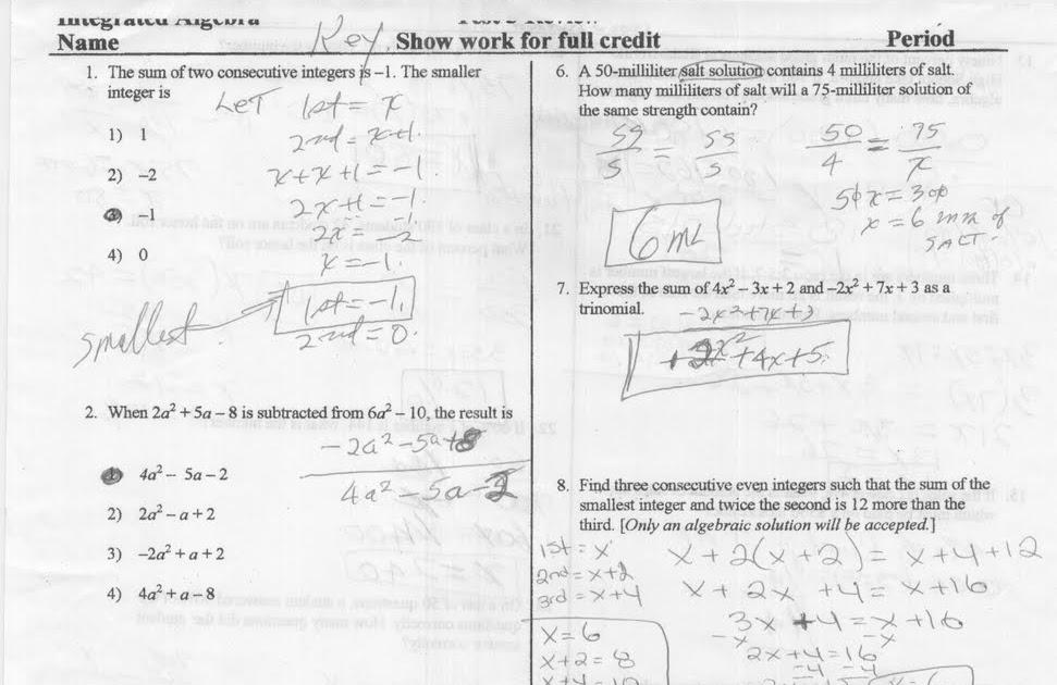 Mr. Napoli's Algebra: Aim: Test Review 4