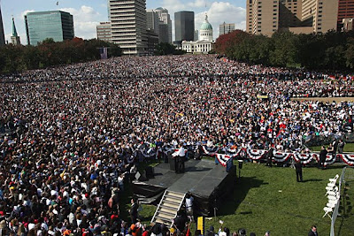 Supporters of Barack Obama rally in St. Louis, Missouri, on October 19, 2008