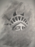 Liberty Lost - charcoal on newsprint 2008