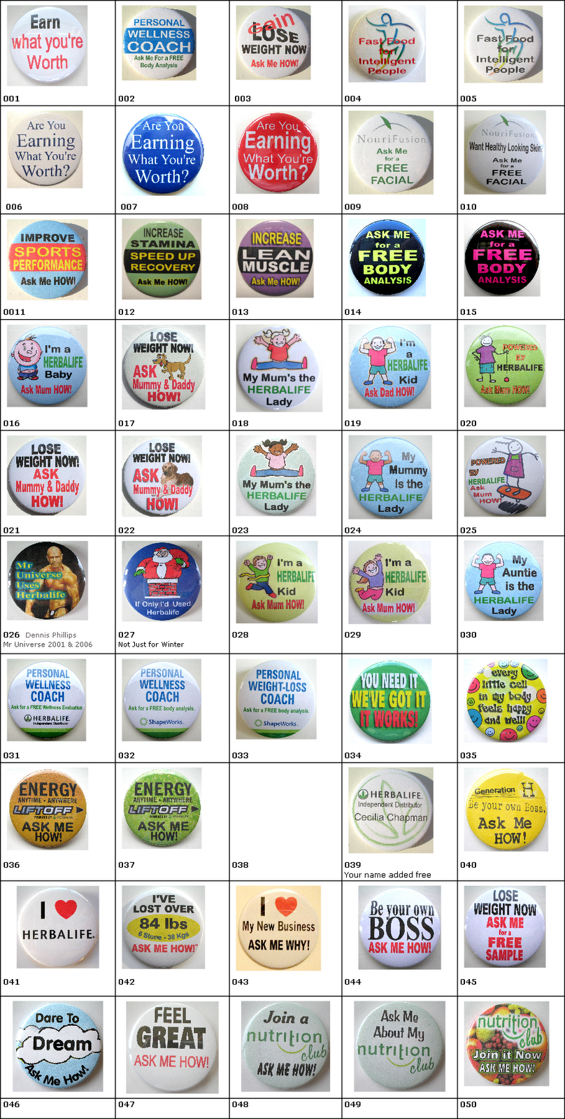 Variety Herbalife Buttons