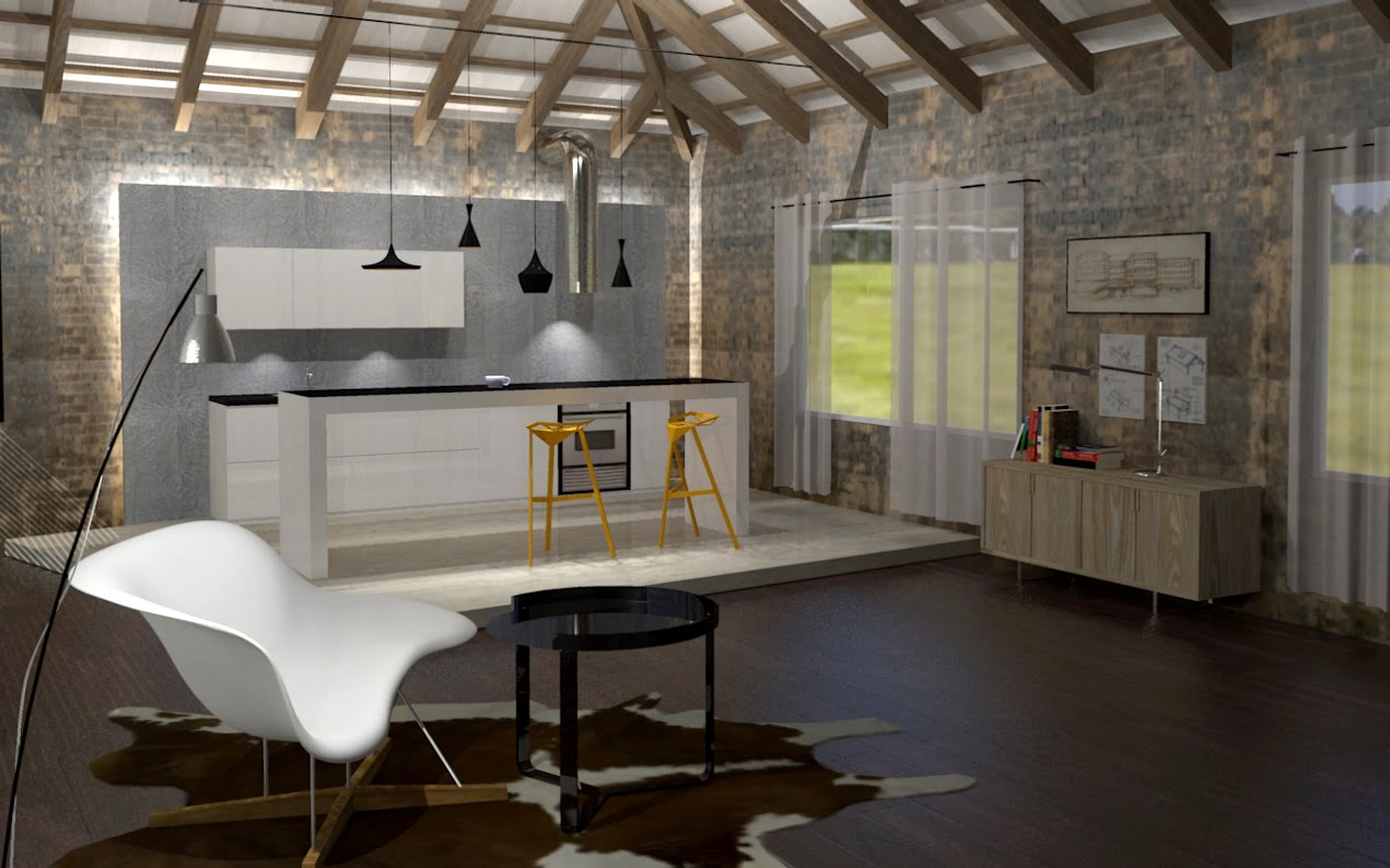 3d Visualisation Rendering Contemporary Fit Out Of An Irish Cottage
