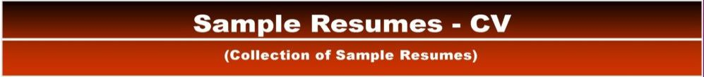 Sample Resumes - CV