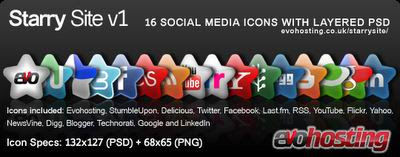 Starry site social media icons