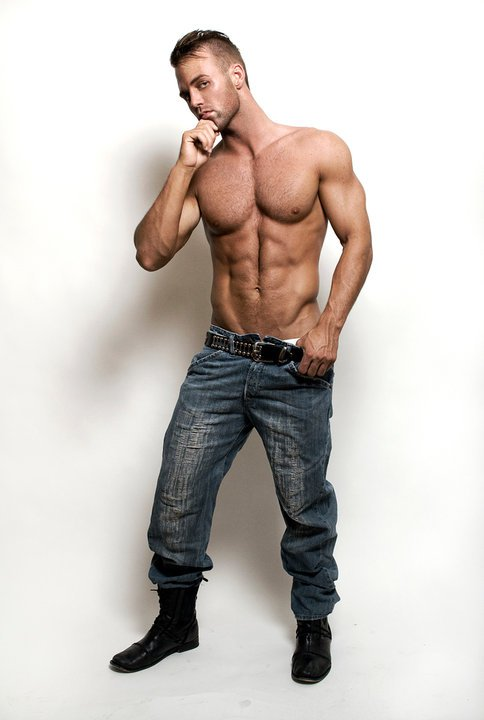 Hunk in Blue Jeans Black Boots