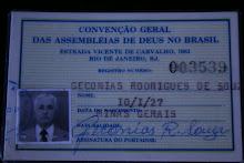 CARTEIRA DA CONVENÇÃO GERAL DAS ASSEMBLÉIAS DE DEUS NO BRASIL.