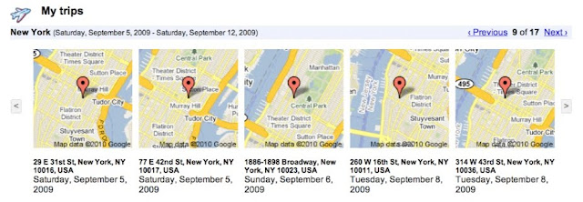 My Trips im Google Dashboard