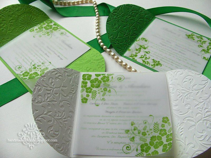 Green And White Summer Wedding Invitations Invitatii Alb Si Verde