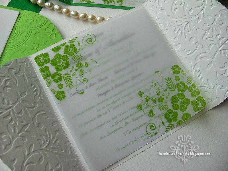 White Wedding Invitations: Green And White Summer Wedding Invitations (Invitatii Alb