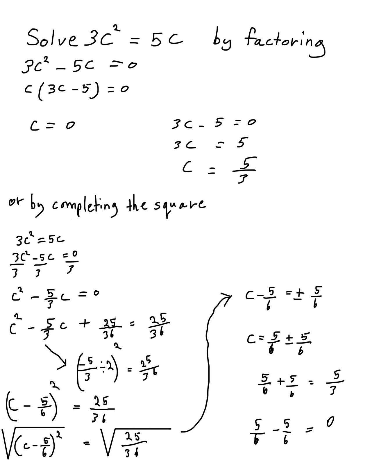 Algebra 2 Solving Quadratic Equations