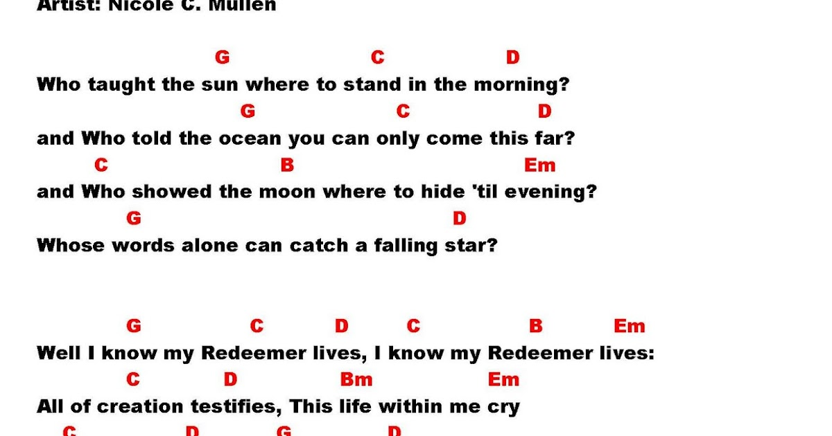 Lyric it is well with my soul lyrics hillsong : MY REDEEMER LIVES (Mullen) - lyrics and chords ~ Faith and Music