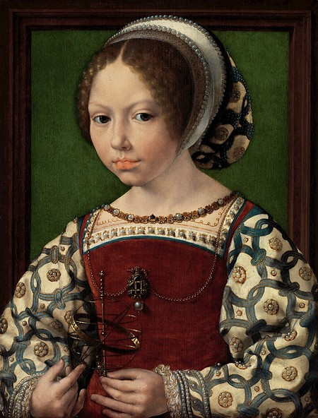 Jan gossaert young girl with astronomic instrument dorothea of