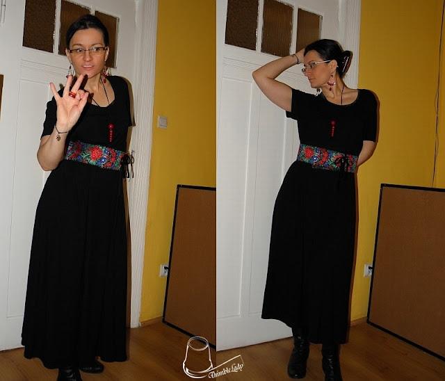 e-fectyinspiracja, czarna sukienka, midi sukienka, moda damska, kolorowy pasek, hand made, jak uszyć pasek, wisior z korali