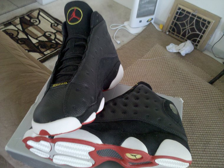 san francisco 11e1b 693ab During Michael Jordan s last appearance as a Chicago Bull, MJ rocked the Air  Jordan XIII (13) Black-Varsity Red-White-Vibrant Yellow aka  Playoffs  in  the ...