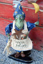 Bumbling Witch, clay sculpture