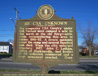 Historic marker about grave of unknown Confederate soldiers
