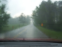 Driving through a rain storm