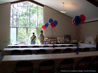 Tables decorated for Eagle Scout reception