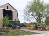 Tractor with steel wheels on a Mennonite farm