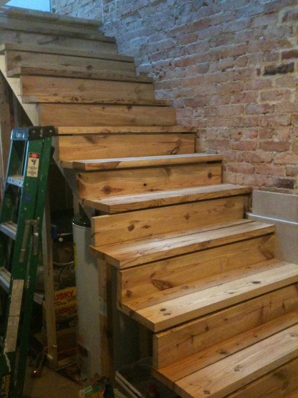 Ontario Road House: Reclaimed wood stair