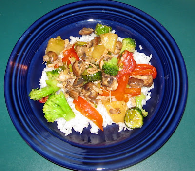 Thai Sweet and Sour Stir Fry with Shredded Chicken and Veggies