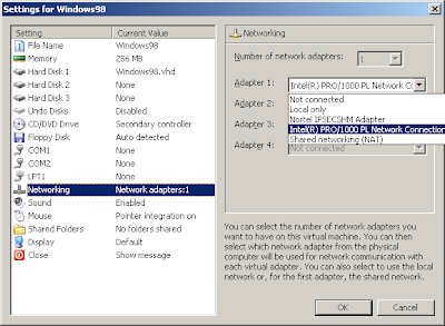 Compiled Thoughts: Networking a Windows 98 virtual machine