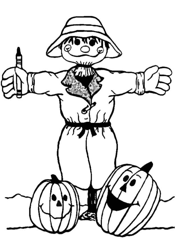 Pages scarecrow coloring halloween printables for Printable scarecrow coloring pages