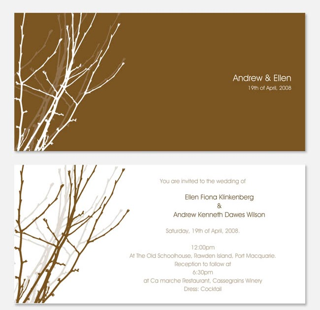 Size Wedding Invitation: Wedding Invitations And Photography: Branch DL Size