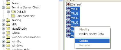 How to clear remote desktop connections history