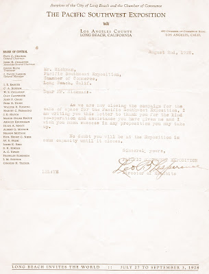 KenBlog Long Beach 1928 Official Exposition Letterhead - official letterhead