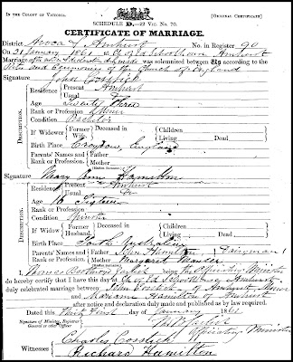 Marriage Certificate of John Cosstick and Mary Ann Hamilton