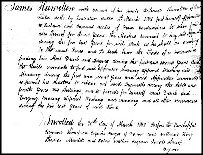 APprenticeship agreement for James Hamilton 1812