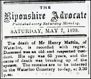 Henry Martin Death Notice 1898