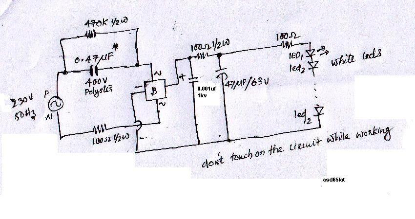 Free circuit diagrams: white led circuit running on ac