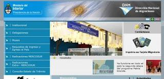 Página de Dirección Nacional de Migraciones de Argentina