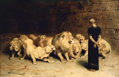 DANIEL ÉPARGNÉ PAR LES LIONS Riviere briton (1872)
