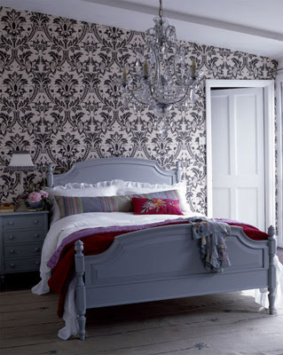 violet bedroom violet purple damask wallpaper, white leather tufted wingback