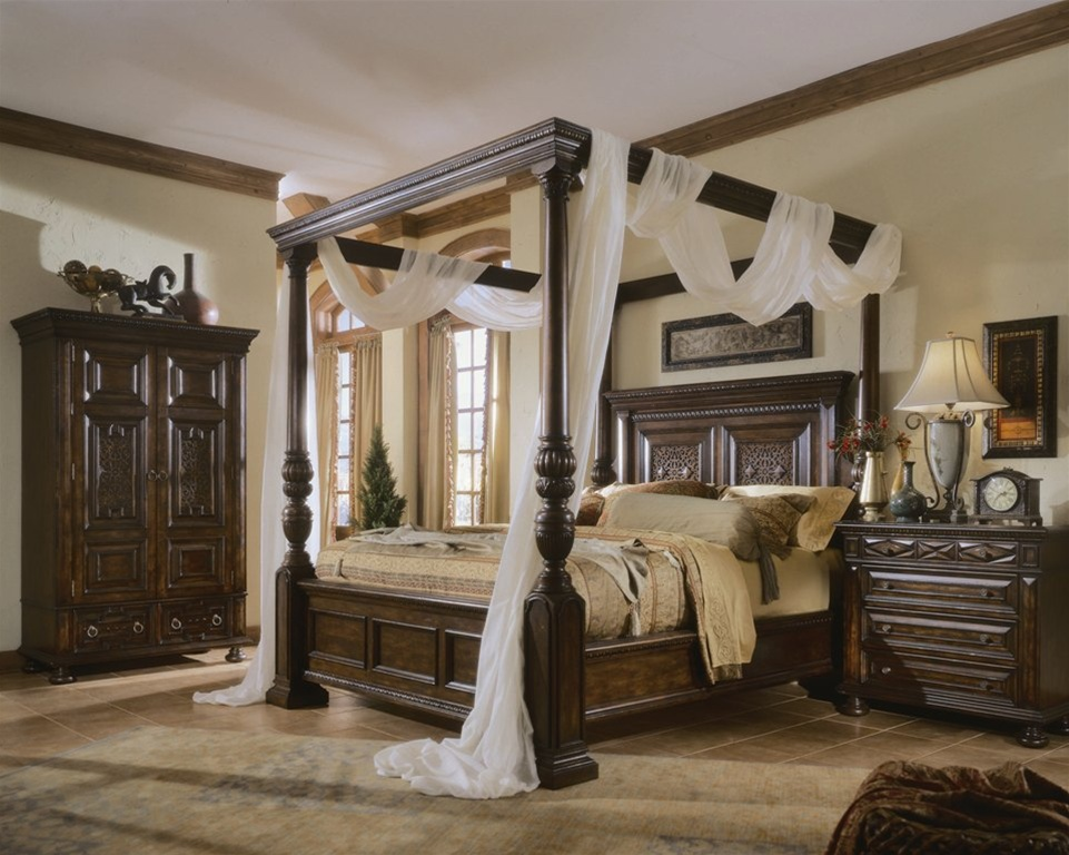 California king canopy bed bedroom furniture luxury - California king bedroom furniture ...