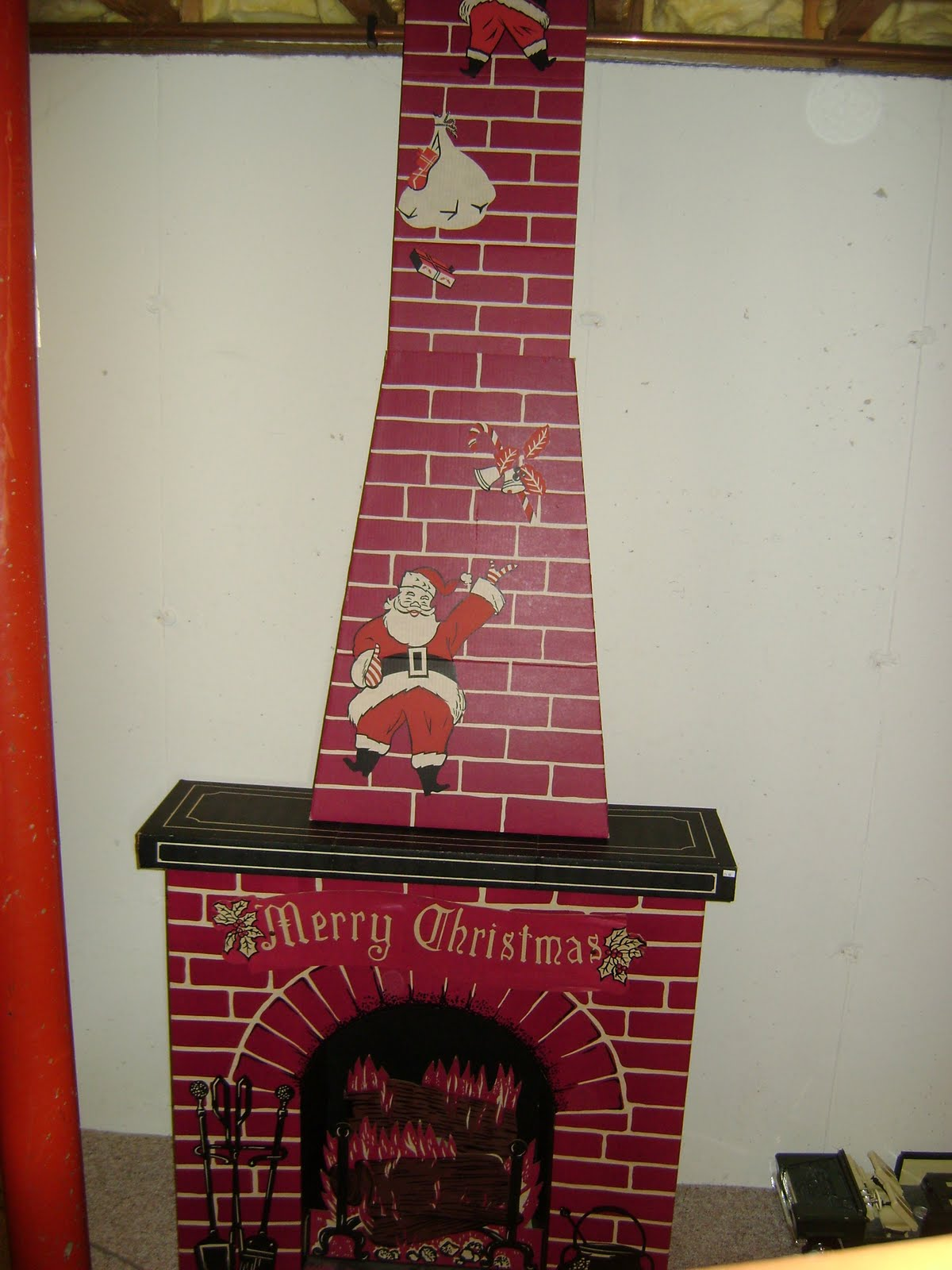 Cardboard Christmas Fireplace.Adventures In Ebay Vintage Tall Cardboard Christmas Fireplace