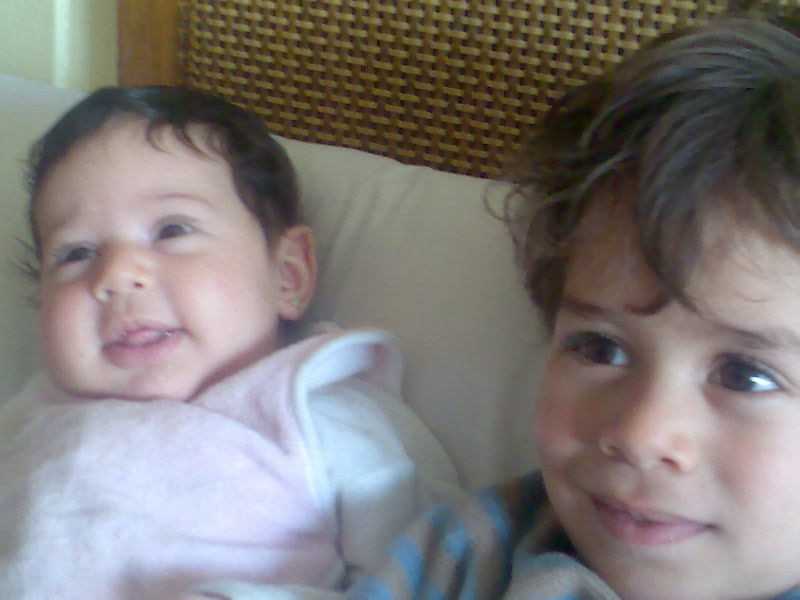 Jamila 2 months, Mamdouh 3 years old.