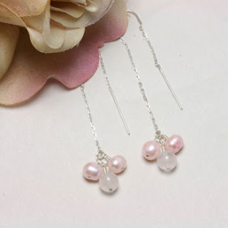 Freshwater Pearl Rose Quartz Gemstone Drop Earrings (E147)