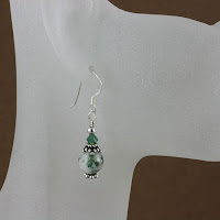 Bali Star Organ Transplant Awareness Earrings (E239) with Tree Agate Gemstone