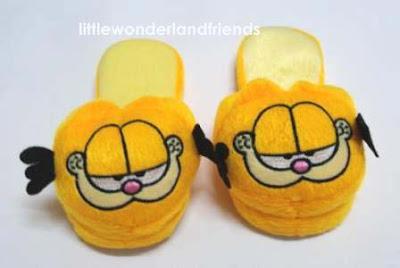 littlewonderlandfriends garfield cat children kids Bedroom Slippers Clip Art Indoor Slippers