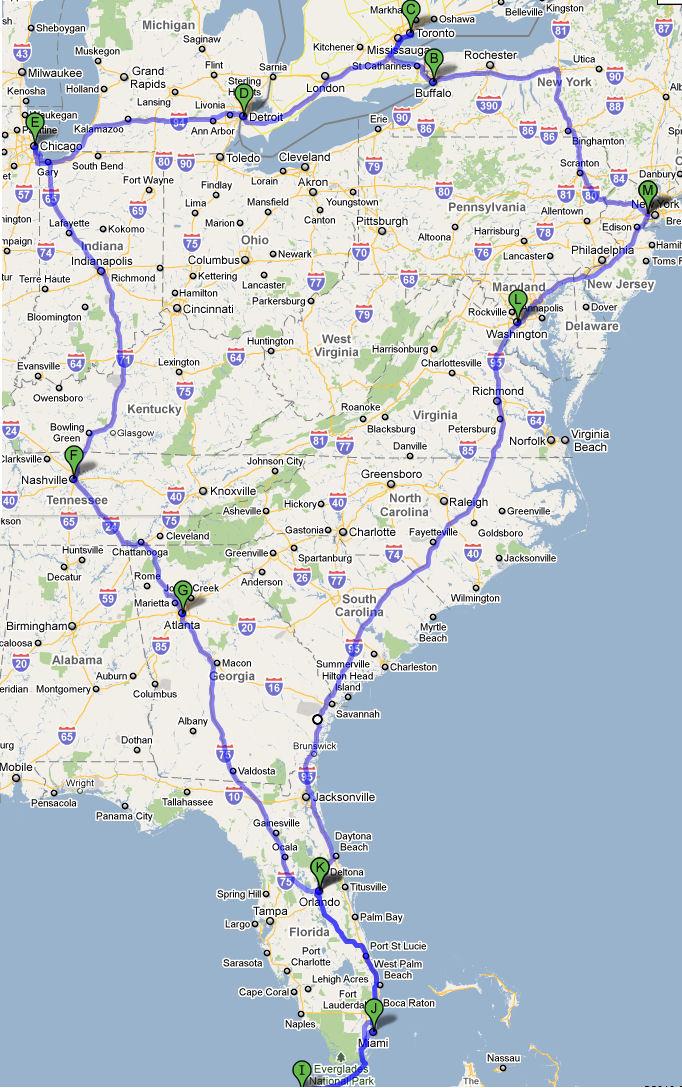 kart usa østkyst Roadtrip USA 2010: Bilturen 2010