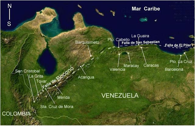 Mapa de las Principales Fallas de Venezuela.
